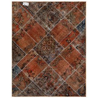 Herat Oriental Pak Persian Hand-knotted Patchwork Brown/ Blue Wool Rug (4'11 x 6'4)