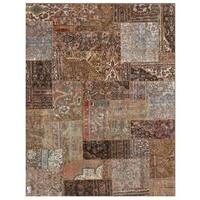 """Herat Oriental Pak Persian Hand-knotted Patchwork Wool Rug (7'10"""" x 9'9"""") - 7'10 x 9'9"""