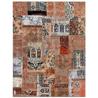 Herat Oriental Pak Persian Hand-Knotted Patchwork Multi-Colored Geometric Wool Rug (7'9 x 9'10)