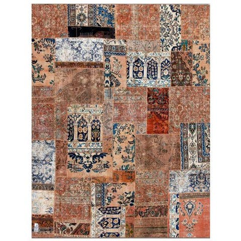 Handmade One-of-a-Kind Patchwork Wool Rug (Iran) - 7'9 x 9'10