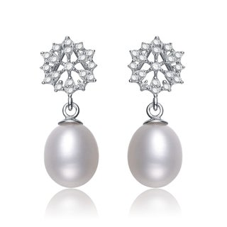 Collette Z Silver White Freshwater Pearl Cubic Zirconia Earrings (8-10 mm)