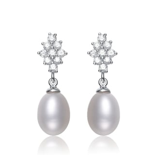 Collette Z Silver White Freshwater Pearl Cubic Zirconia Earrings (8-9.5 mm)