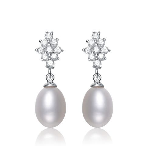Collette Z Silver White Freshwater Pearl Cubic Zirconia Earrings (8-9.5 mm)