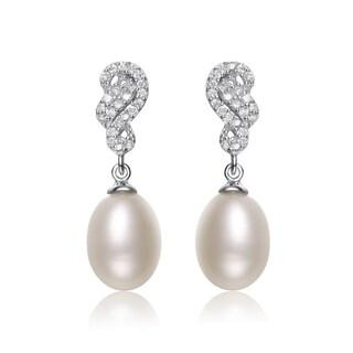 Collette Z Silver White Freshwater Pearl Cubic Zirconia Earrings (8-10.5 mm)