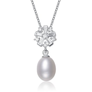 Collette Z Silver White Freshwater Pearl Cubic Zirocnia Necklace (8-11 mm)