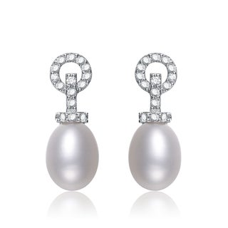 Collette Z Silver White Freshwater Pearl Cubic Zirconia Earrings (8.5-10.5 mm)