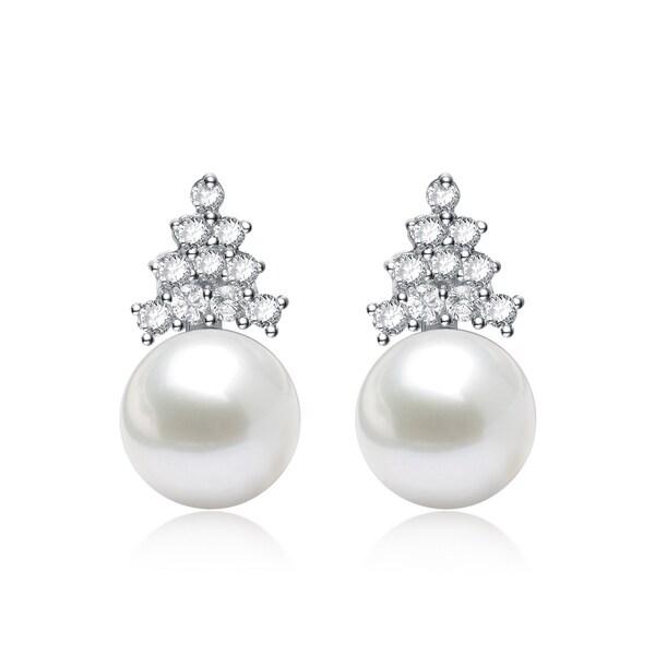 Collette Z Silver White Freshwater Pearl Cubic Zirconia Earrings 8 Mm