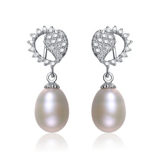 Collette Z Silver White Freshwater Pearl Cubic Zirconia Earrings (7.5-10 mm)