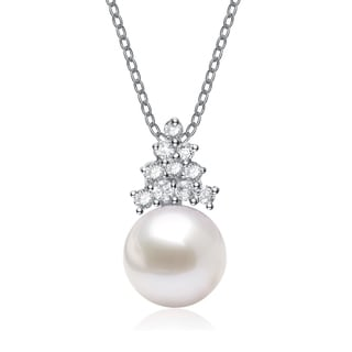 Collette Z Silver White Freshwater Pearl Cubic Zirocnia Necklace (8 mm)