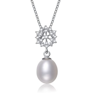 Collette Z Silver White Freshwater Pearl Cubic Zirocnia Necklace (8.5-10.5 mm)