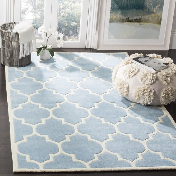 Safavieh Handmade Moroccan Chatham Blue Wool Area Rug (8'9