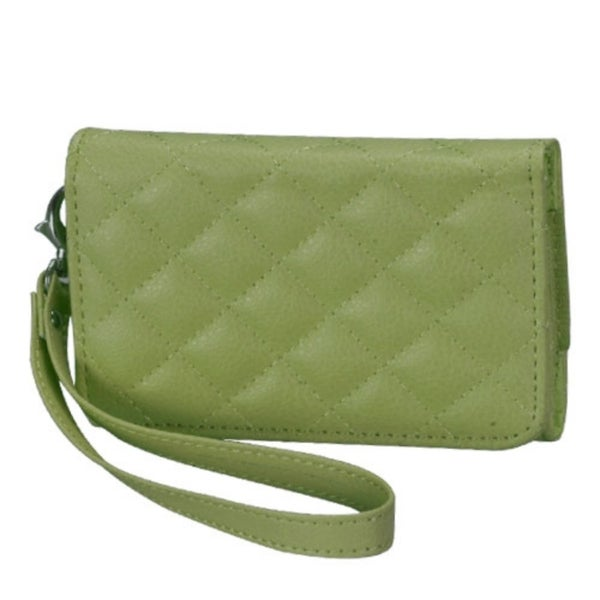 INSTEN Green Quilted Wallet Phone Case Cover for Apple iPhone 4/ 4S