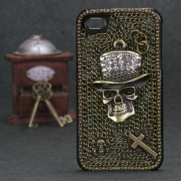 INSTEN Cowboy Skull Crystal 3D Diamante Phone Case Cover for Apple iPhone 4/ 4S