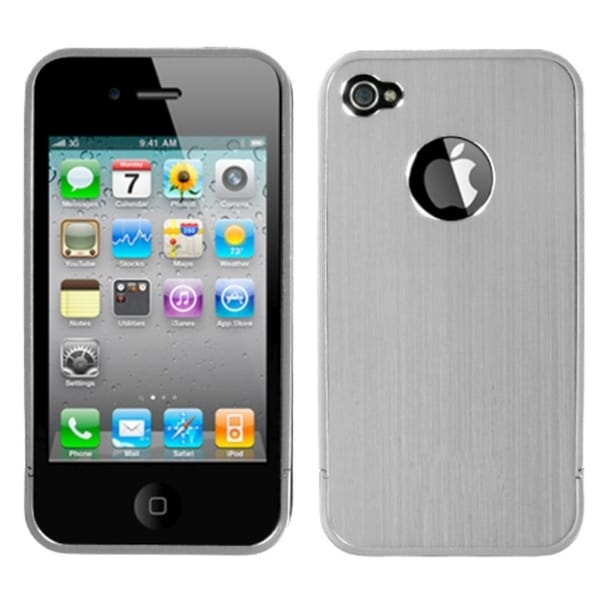 INSTEN Silver Ironside Shield with Chrome Phone Case Cover for Apple iPhone 4/ 4S