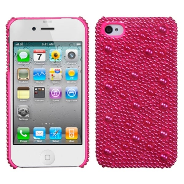 INSTEN Hot Pink Pearl Diamante Phone Case Cover for Apple iPhone 4/ 4S