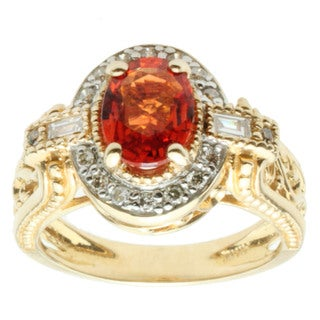 Michael Valitutti 14k Yellow Gold Orange Oval-cut Sapphire and Diamond Ring