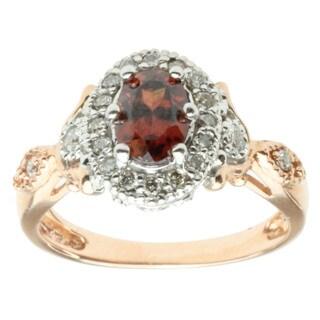 Michael Valitutti 14k Two-tone Gold Rose Zircon and Diamond Ring