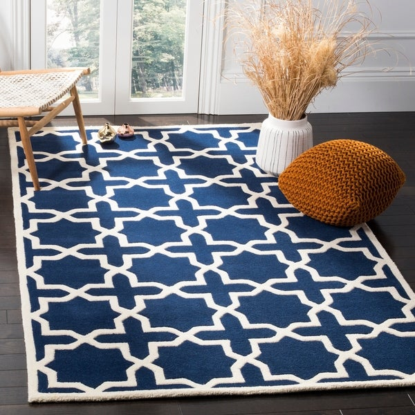 Safavieh Handmade Moroccan Dark Blue 100 Percent Wool Rug - 8'9' x 12'