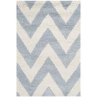 Safavieh Handmade Moroccan Cambridge Chevron Light Blue Wool Rug - 3' x 5'