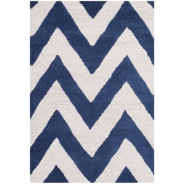 Chevron Rug Navy: Safavieh Handmade Moroccan Cambridge Chevron Navy Wool Rug