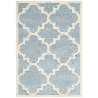 Safavieh Handmade Moroccan Chatham Contemporary Blue Wool Rug (2' x 3')