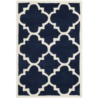 Safavieh Handmade Moroccan Chatham Dark Blue Clover Wool Rug (2' x 3')