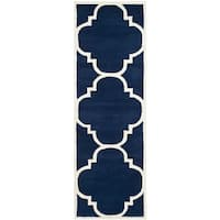 Safavieh Handmade Moroccan Chatham Dark Blue Wool Rug - 2'3 x 11'