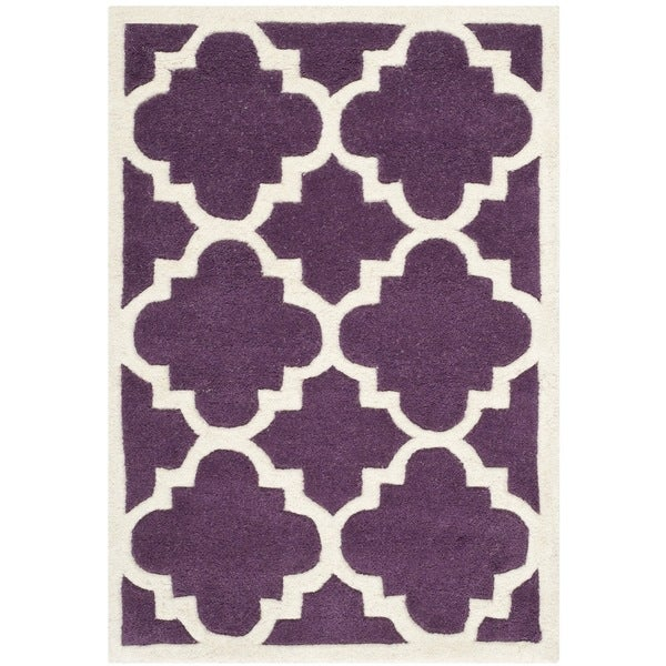 Safavieh Chatham Purple/ Ivory Moroccan-style Handmade Wool Rug - 2' x 3'