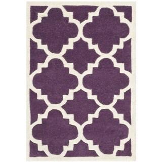 Safavieh Chatham Purple/ Ivory Moroccan-style Handmade Wool Rug (2' x 3')