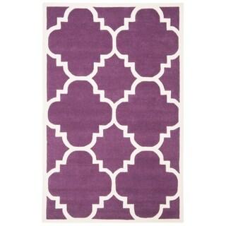 Safavieh Handmade Moroccan Chatham Purple Wool Rug (3' x 5')