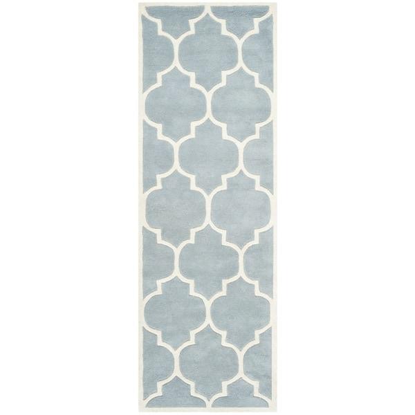 Safavieh Handmade Moroccan Blue Geometric Wool Rug - 2'3 x 11'