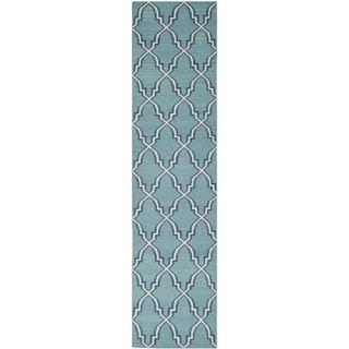 Safavieh Hand-woven Moroccan Reversible Dhurrie Light Blue Wool Rug (2'6 x 12')