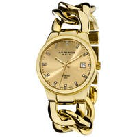Akribos XXIV Women's Swiss Quartz Diamond Twist Chain Gold-Tone Bracelet Watch - WHITE/black/GOLD
