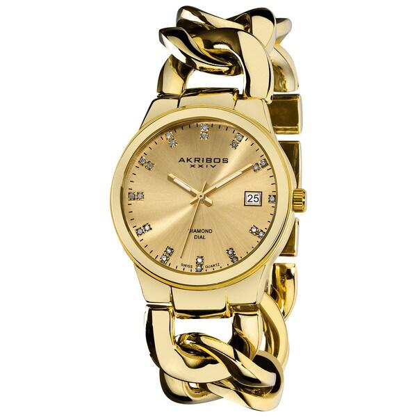 Akribos XXIV Women's Swiss Quartz Diamond Twist Chain Gold-Tone Bracelet Watch - WHITE/black/GOLD