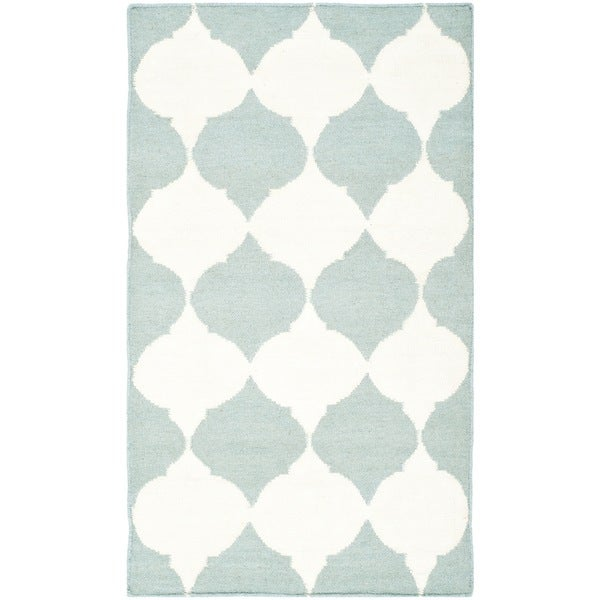 """Safavieh Geometric Handwoven Moroccan Reversible Dhurrie Blue Wool Rug (2'6"""" x 4')"""