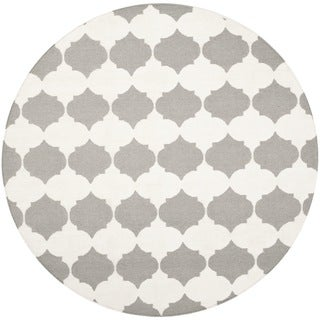 Safavieh Hand-woven Moroccan Reversible Dhurrie Grey Wool Rug (7' Round)