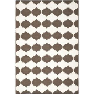 Safavieh Hand-woven Moroccan Reversible Dhurrie Brown Wool Rug (5' x 8')