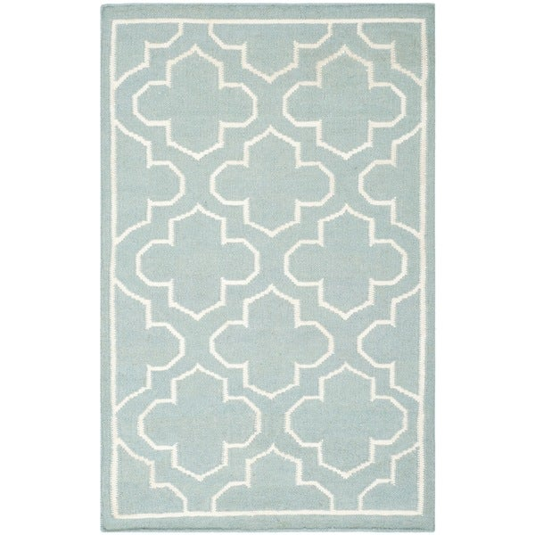 Safavieh Hand-woven Moroccan Reversible Dhurrie Blue Wool Rug (3' x 5')