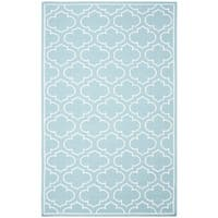 Safavieh Hand-woven Moroccan Reversible Dhurrie Blue Wool Rug - 7' Square