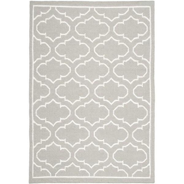 Safavieh Handwoven Moroccan Reversible Dhurrie Geometric Grey Wool Rug (4u0026#39; x 6u0026#39;) - Free Shipping ...