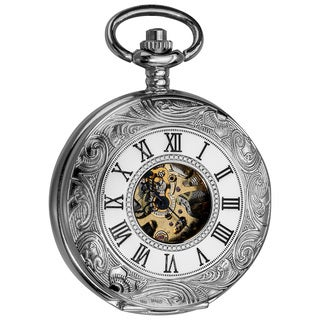 Akribos XXIV Men's Antique Mechanical Skeleton Chain Pocket Silver-Tone Watch with Gift Box - Black/White