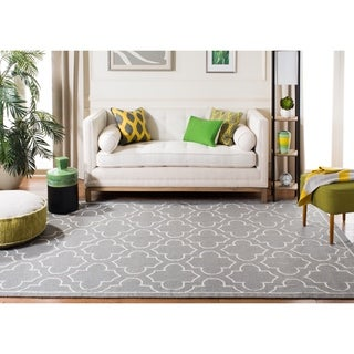 Safavieh Hand-woven Moroccan Reversible Dhurrie Grey Wool Rug (7' Square)