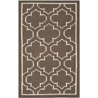Safavieh Hand-woven Moroccan Reversible Dhurrie Brown Wool Rug (2'6 x 4')