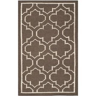 Safavieh Handwoven Moroccan Reversible Dhurrie Brown Wool Geometric Rug (3' x 5')