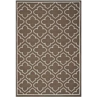 Safavieh Hand-woven Moroccan Reversible Dhurrie Brown Wool Rug (4' x 6')