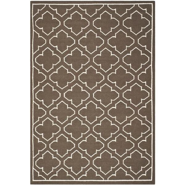 Safavieh Hand-woven Moroccan Reversible Dhurrie Brown Wool Rug (4' x 6') - 4' x 6'