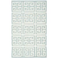 Safavieh Hand-woven Moroccan Reversible Dhurrie Blue Wool Rug - 2'6 x 4'