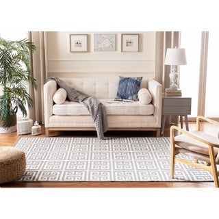 Safavieh Hand-Woven Moroccan Reversible Dhurrie Grey Geometric Wool Rug (3' x 5')