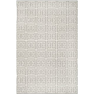 Safavieh Handwoven Moroccan Reversible Dhurrie Square-Panel-Motif Grey Wool Rug (4' x 6')