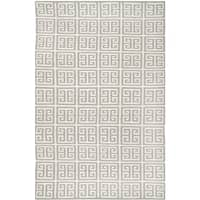 Safavieh Handwoven Moroccan Reversible Dhurrie Square-Panel-Motif Grey Wool Rug - 4' x 6'